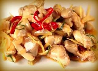 Salteado de pollo con jengibre