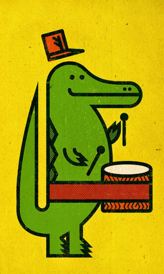 an alligator with a drum illustration by Mateyko Thiessen