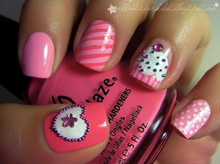 nail art stripes, cupcake, polka dots and heart