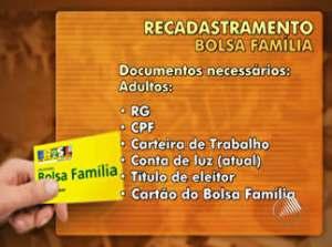 Recadastrar Bolsa Família esse ano quais documentos onde fazer