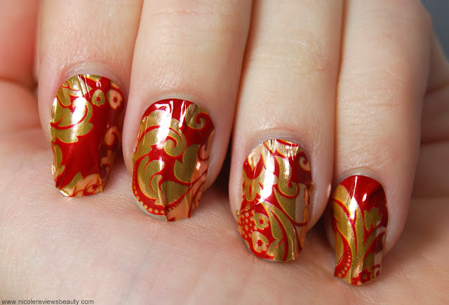 OMG Nail Foil Strips in Floral (Red/Gold)