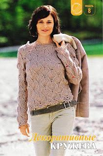 http://www.vyazemsami.ru// Ажурный пуловер с кружевными краями