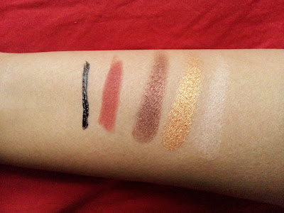 kiko cosmetics swatches Liquid liner, lip liner 201, shadows in 132, 102 and 130