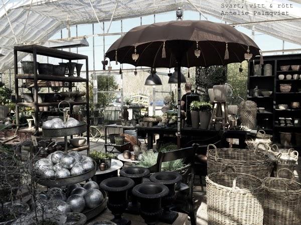 inredning trädgård, butik, träslövs trädgård, inredning, exteriör, krukor, parasoll, korgar för blommor, zink, tips, varberg, utflykt,