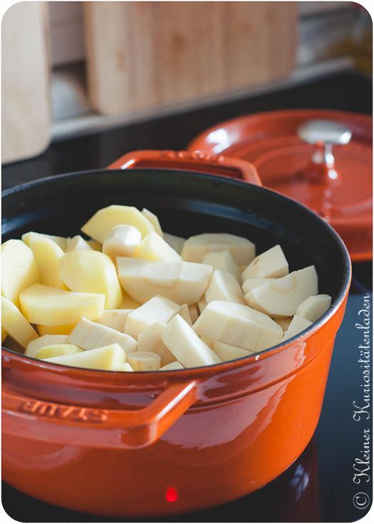 Kartoffeln und Pastinaken in der Cocotte