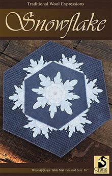 Snowflake Wool Applique Centerpiece Mat 16""