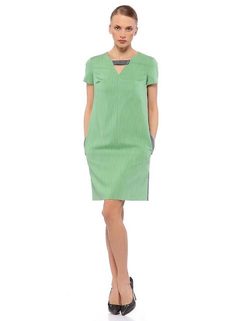 yuvarkal yaka şerit detaylı yarım kol kısa elbise