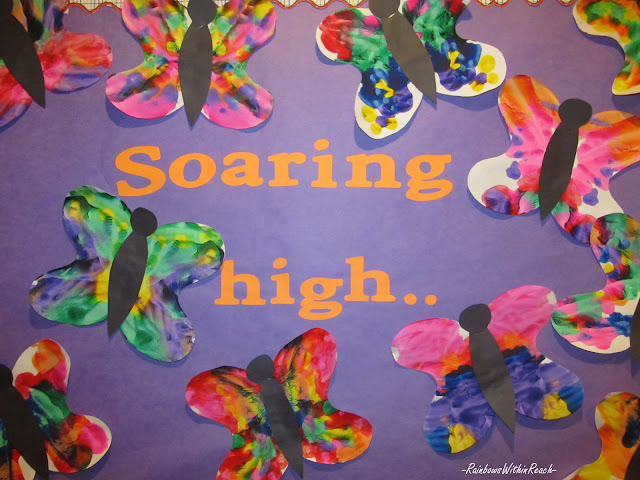photo of: Spring Bulletin Board of Butterflies (from Bulletin Board RoundUP via RainbowsWithinReach)