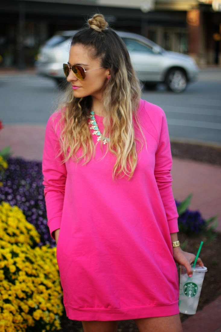 Oversize Sweatshirt Dress with Pockets - Ombre Hair Color Half Up Top Knot Hairstyle