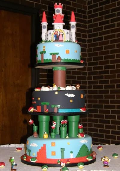 Bánh kem tháp 3 tầng Mario cứu công chúa