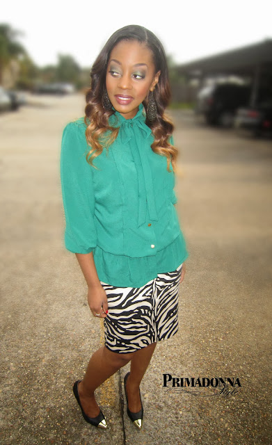 how to wear what to wear with cap toe gold heels shoes pumps evergreen zebra print stripe tie neck blouse