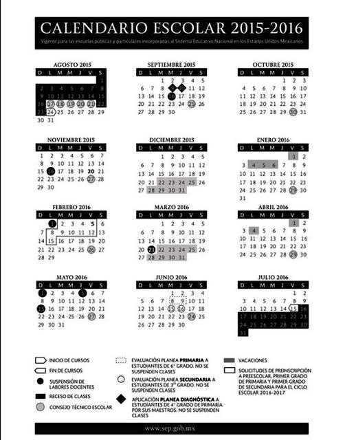 calendario escolar para ciclo escolar 2015-2016, el cual es aplicable ...