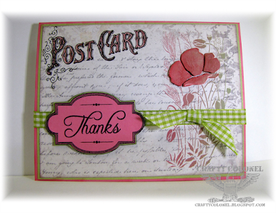 Crafty Colonel Donna Nuce, For House of Cards blog, Eclectic Anthology DP, Stitchy Bear Poppy, Inspired by Stamping Sentiment, Really REasonable Ribbon