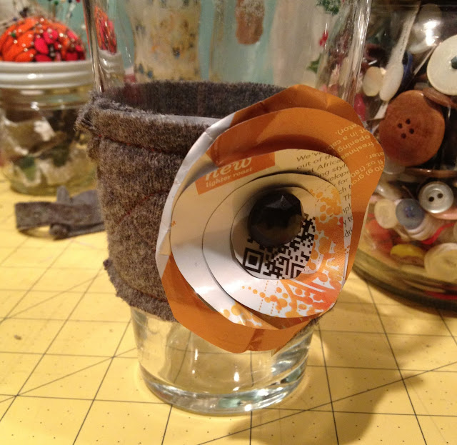 Coffee cuff made from Starbucks coffee bag