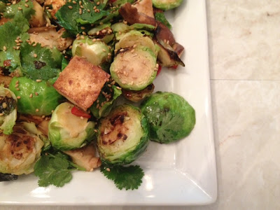 Sweet-Spicy Brussels Spouts & Tofu recipe