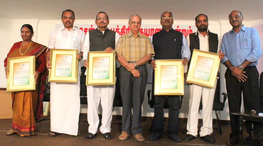 Sansad Ratna Award 2014 winners L to R: Rama DEvi, S S Ramasubbu, Gajanan Babbar, N Gopalaswami (Former Chief Election Commissioner of India), Shivaji Adhalrao Patil, Hansraj G Ahir, K Srinivasan (Prime Point Foundation)