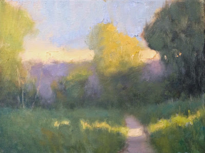Painting a Day, Impressionist landscape of a path through a field at twilight by artist Steve Allrich
