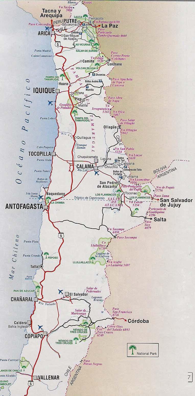 Mapas de chile mapa rutero de chile mapa rutero de chile norte sciox Choice Image