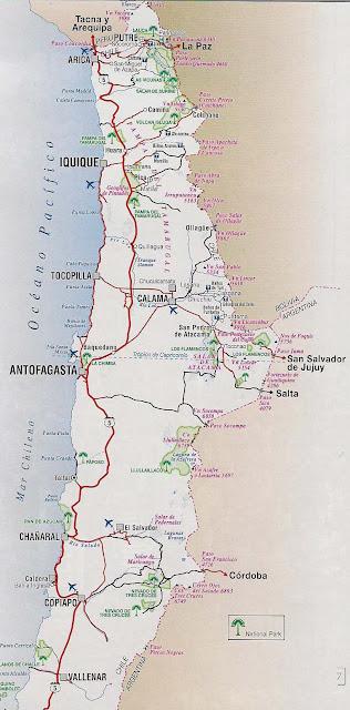 Mapa rutero de Chile norte