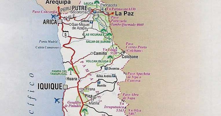Mapas de chile mapa rutero de chile for Piletas publicas en zona norte