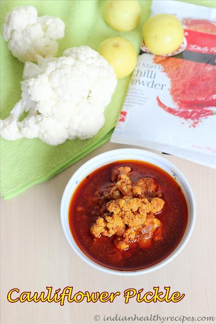 cauliflower pickle (cauliflower avakaya)   pickle recipes