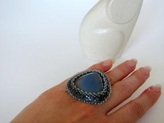 кольцо голубой опал, кольцо ручной работы