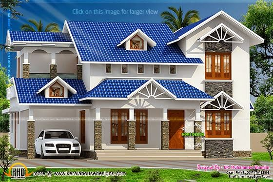 Blue color roof house