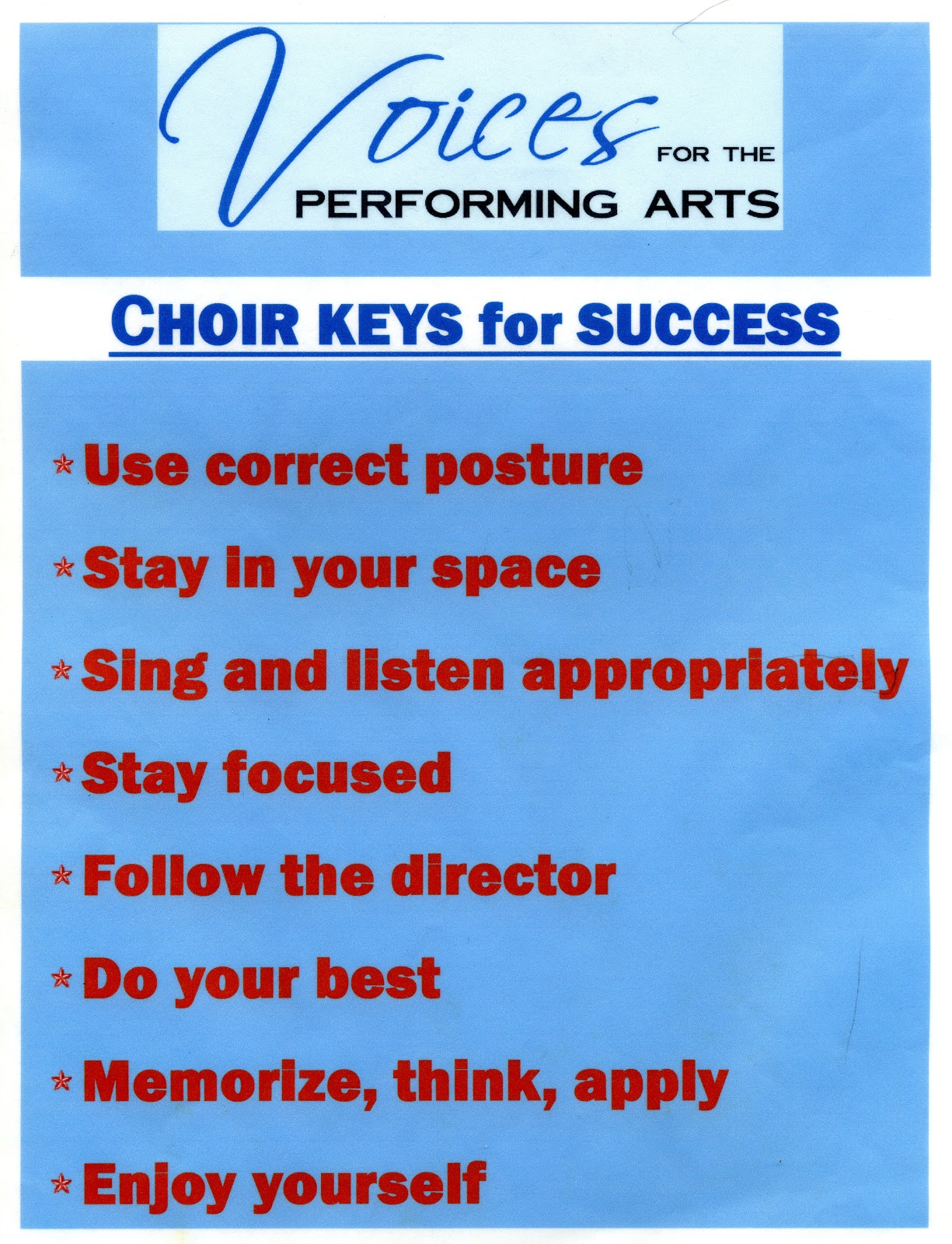 Cindy's Common Time Choir Notes: Choir Goals