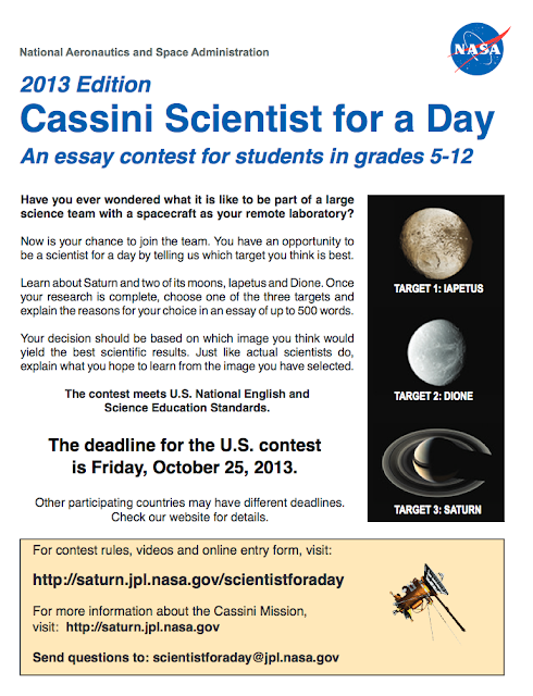 cassini scientist for a day essay contest 2011 This essay contest provides school students all around the worlds with the opportunity to get involved in astronomy and astrophysics and planetary sciences in particular from 2010 the 'cassini scientist for a day' contest has being one of the most successful as well as important outreach activities of esa and nasa in greece with hundreds of.
