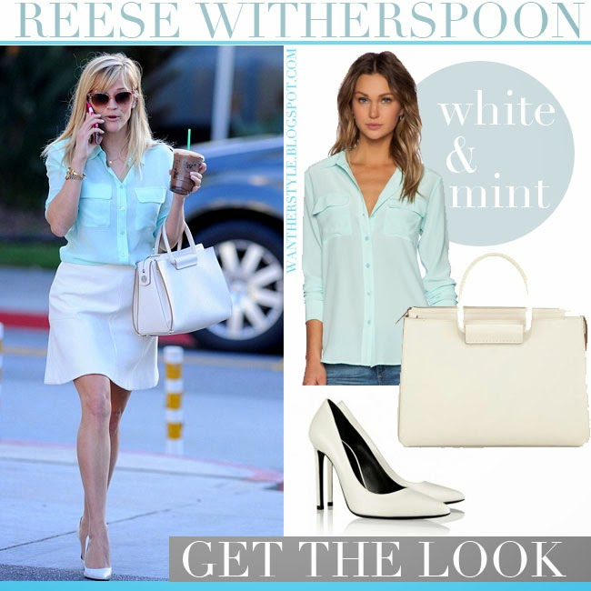 Reese Witherspoon in mint Equipment shirt with white Saint Laurent pumps and white mini skirt streetstyle february 25