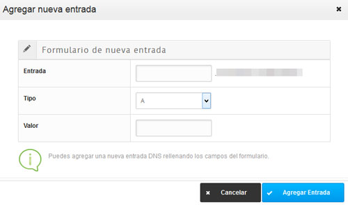 Aspecto del formulario para añadir nuevas entradas DNS en Hostalia