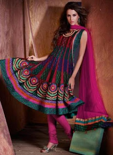 latest awesome designer anarkali churidar suit in beautiful pink color