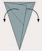 Bước 4: Gấp chéo 2 góc tờ giấy xuống, vị trí gấp là đường đứt đoạn hình vẽ dưới.