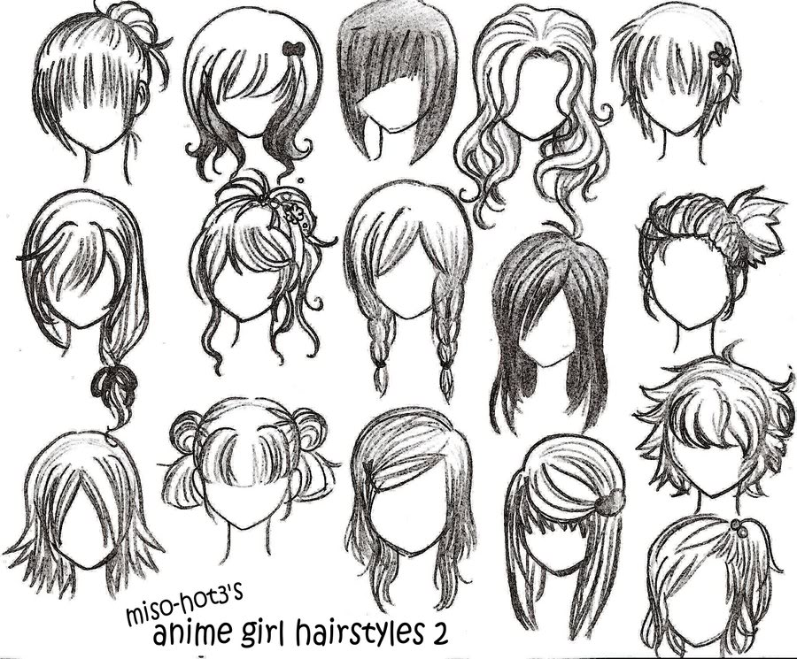 Hairstyles For Long Hair Drawing : Drawings: anime hairstyles