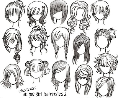 Anime Girl Hairstyles Drawings