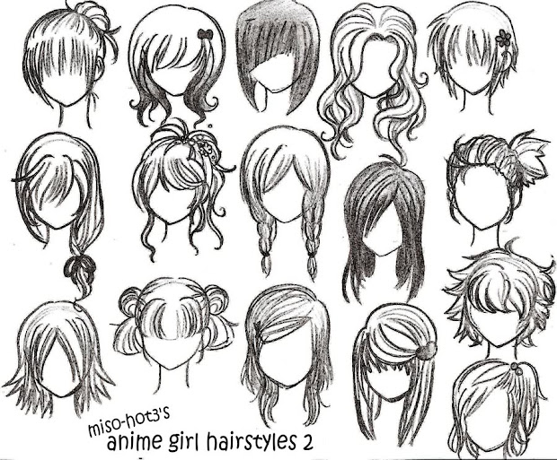 drawings anime hairstyles