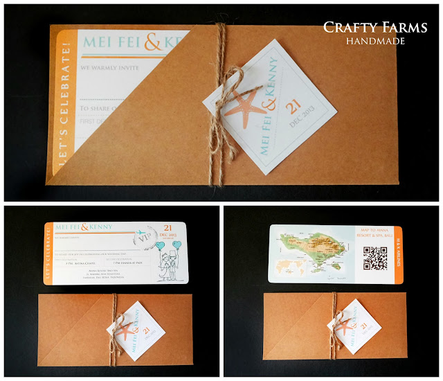 Rustic Orange and Teal Blue Beach Themed Boarding Pass Wedding Card