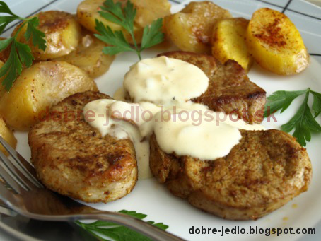 Panenka s hubovou omáčkou a gratinovanými zemiakmi - recepty