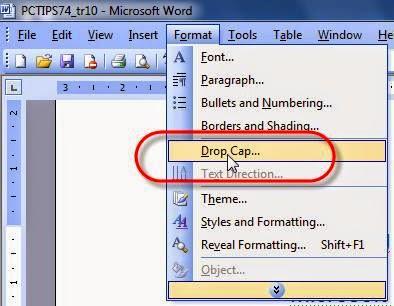 Cách tạo chữ cái lớn đầu dòng trong Word 2003