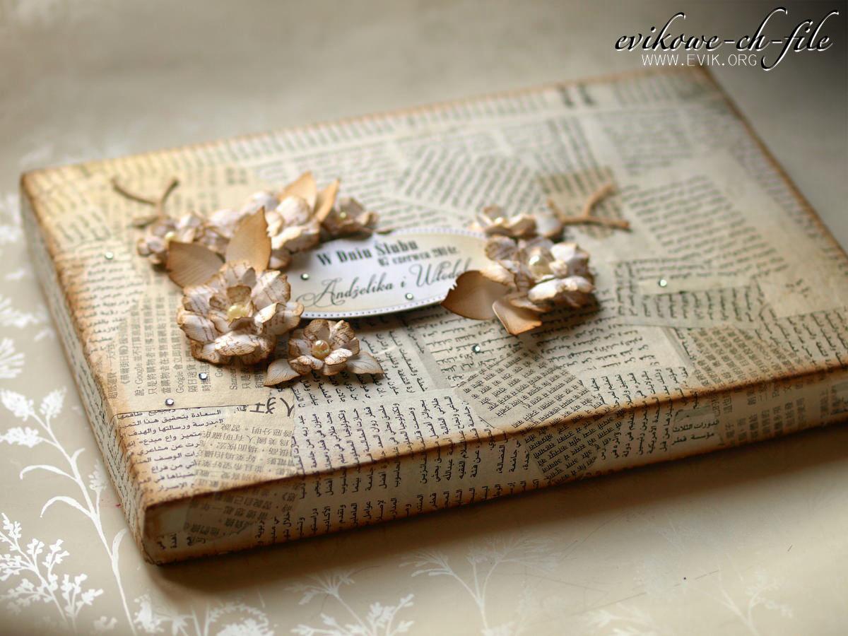 Sizzix Tim Holtz Tattered Florals, glimmer mist Gold, Ewa Jarlińska, Evik, rękodzieło, pudełko na prezent ślubny