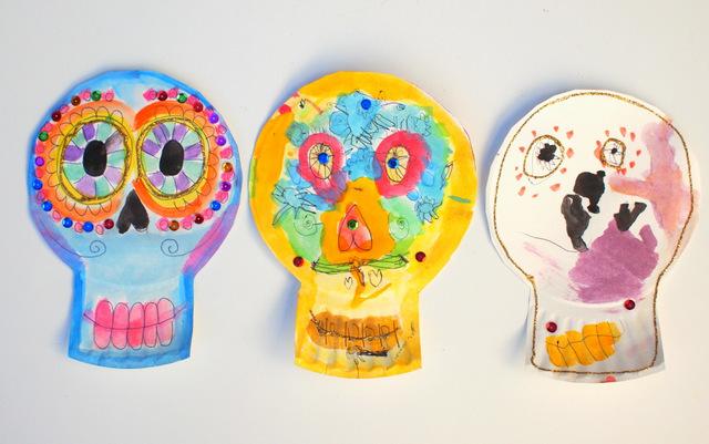 Paper Plate Dia De Los Muertos Skulls