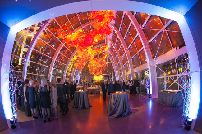 wedding reception at chihuly garden and glass venue