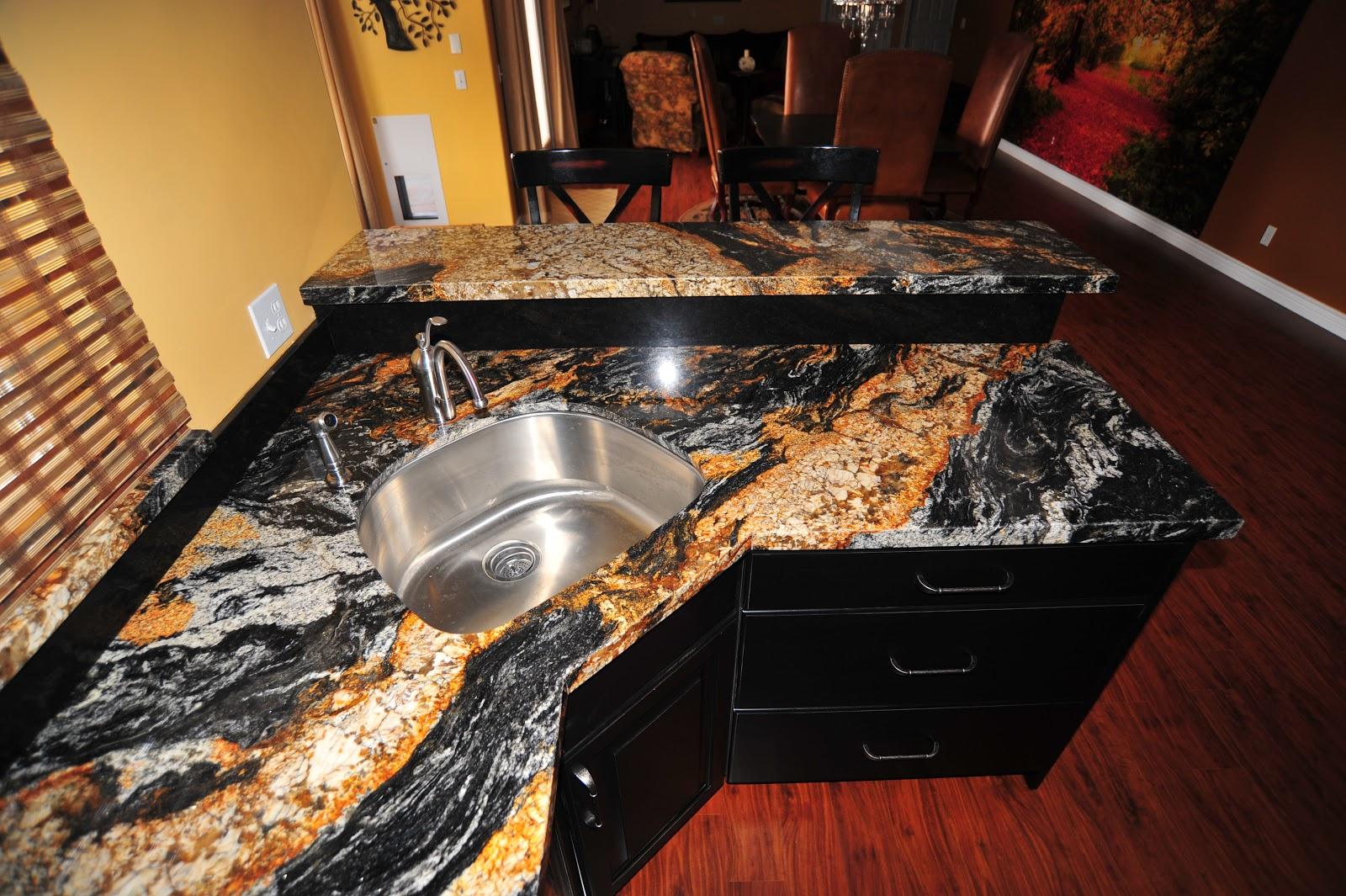 Backsplash for Magma Black Granite Countertops