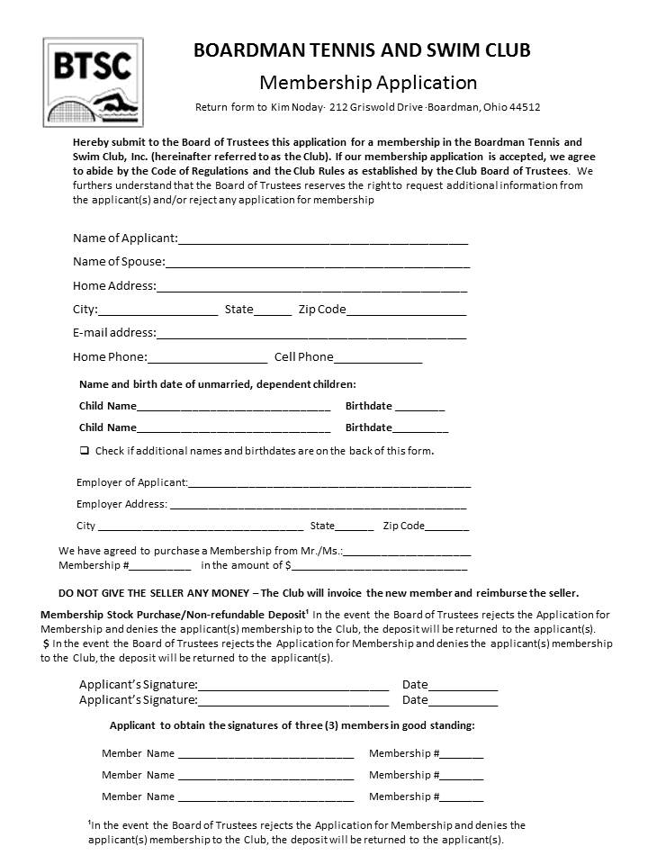 BTSC Membership Application