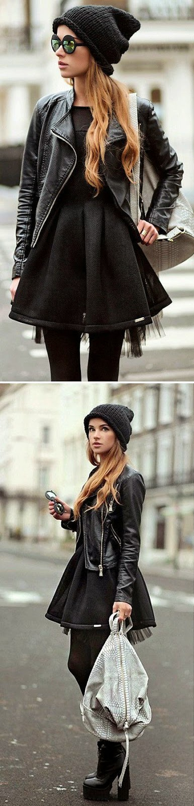High Fashion For Winter Moto Jacket andBlack Dress