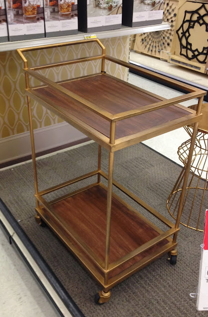 vintage lucite and gold bar cart