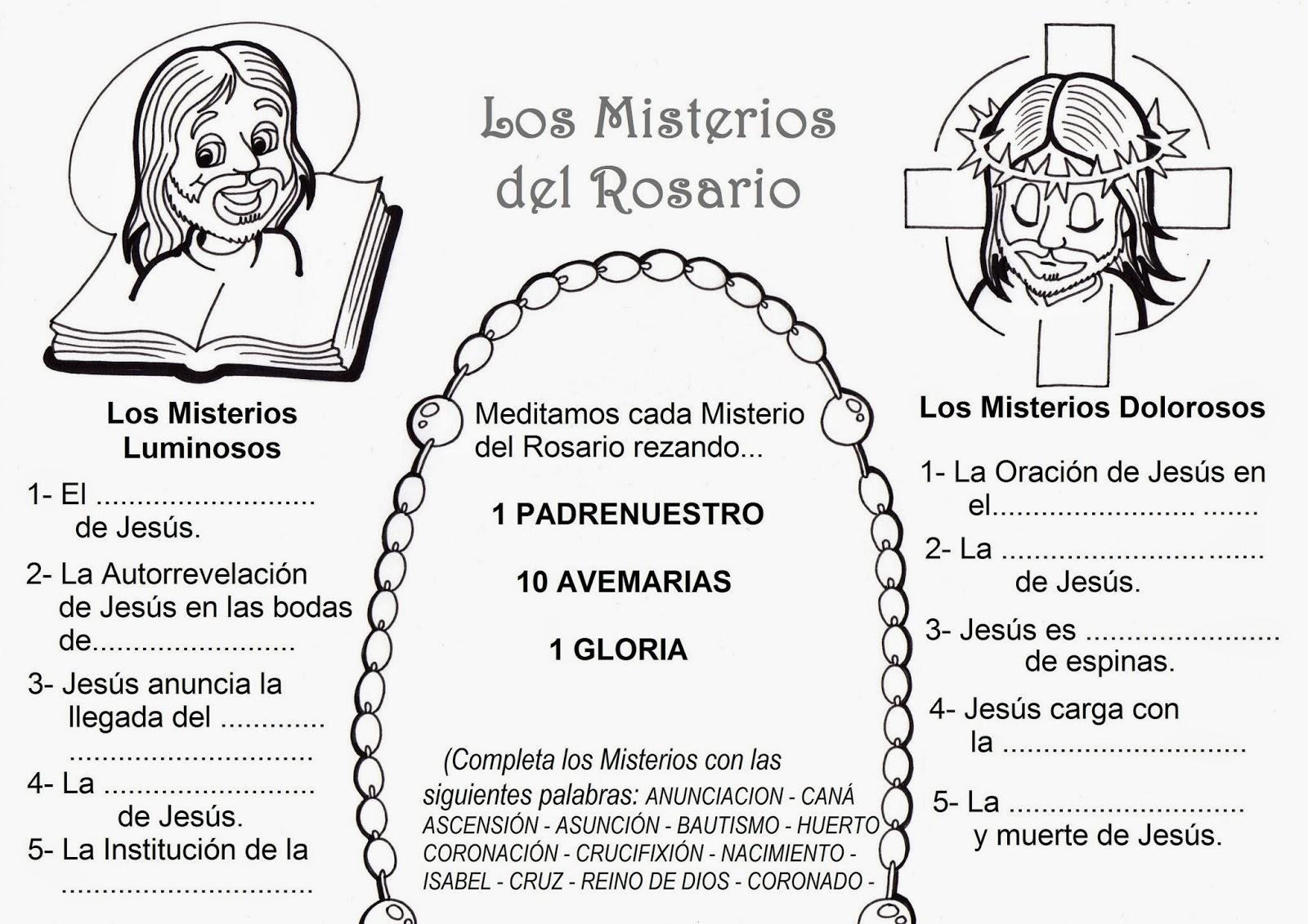 El Rincón de las Melli: LÁMINA: Los Misterios del Rosario
