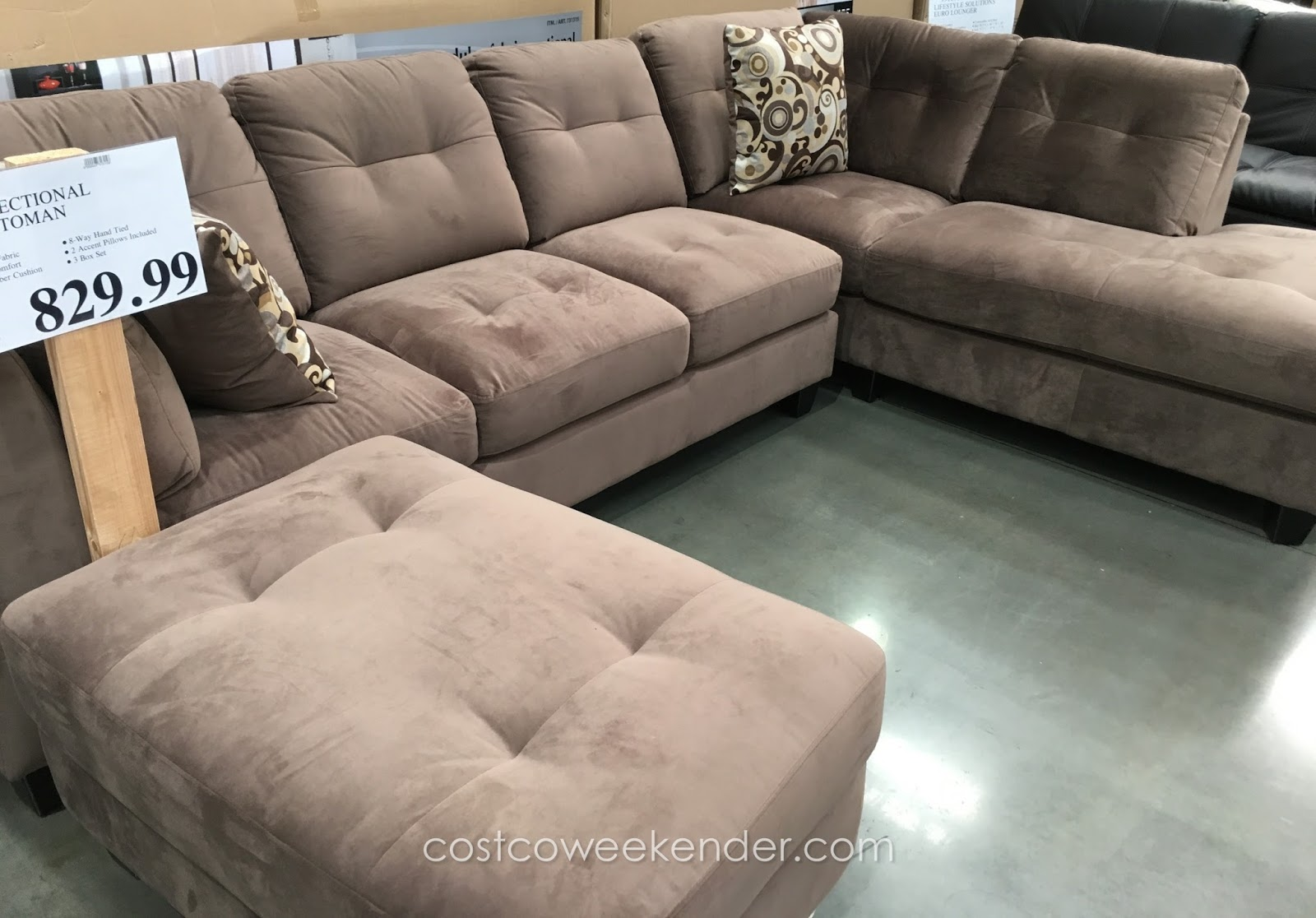 Mstar 3 piece modular fabric sectional with ottoman for 3 piece sectional sofa costco