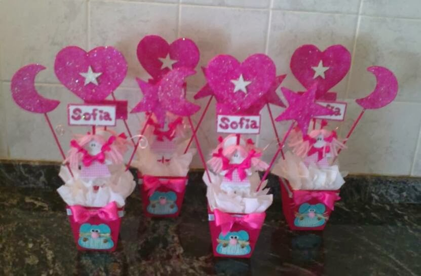 Cositas de trapo centro de mesa infantil - Vasos para cumpleanos infantiles ...