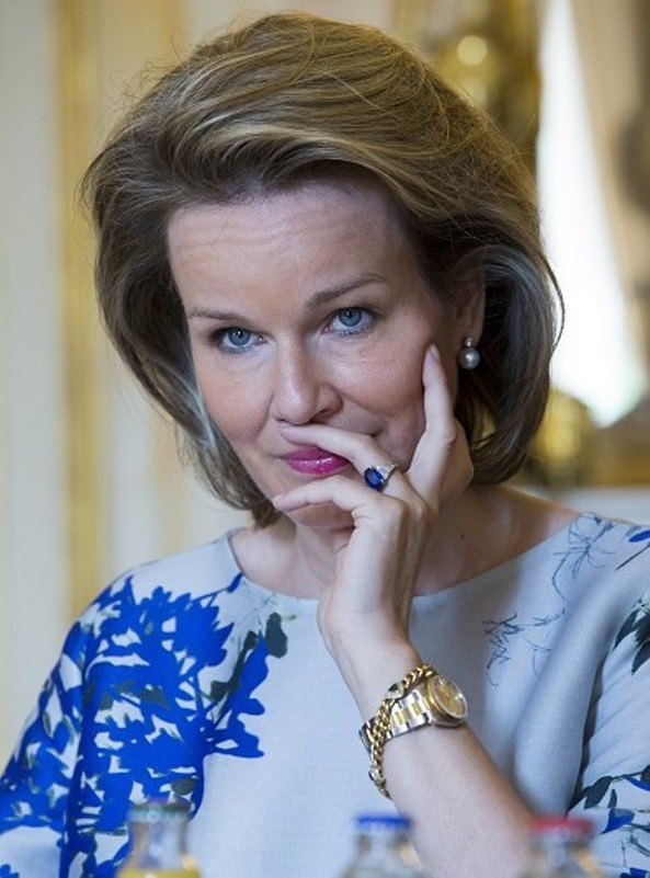 Queen Mathilde Attends A Meeting At The Royal Palace
